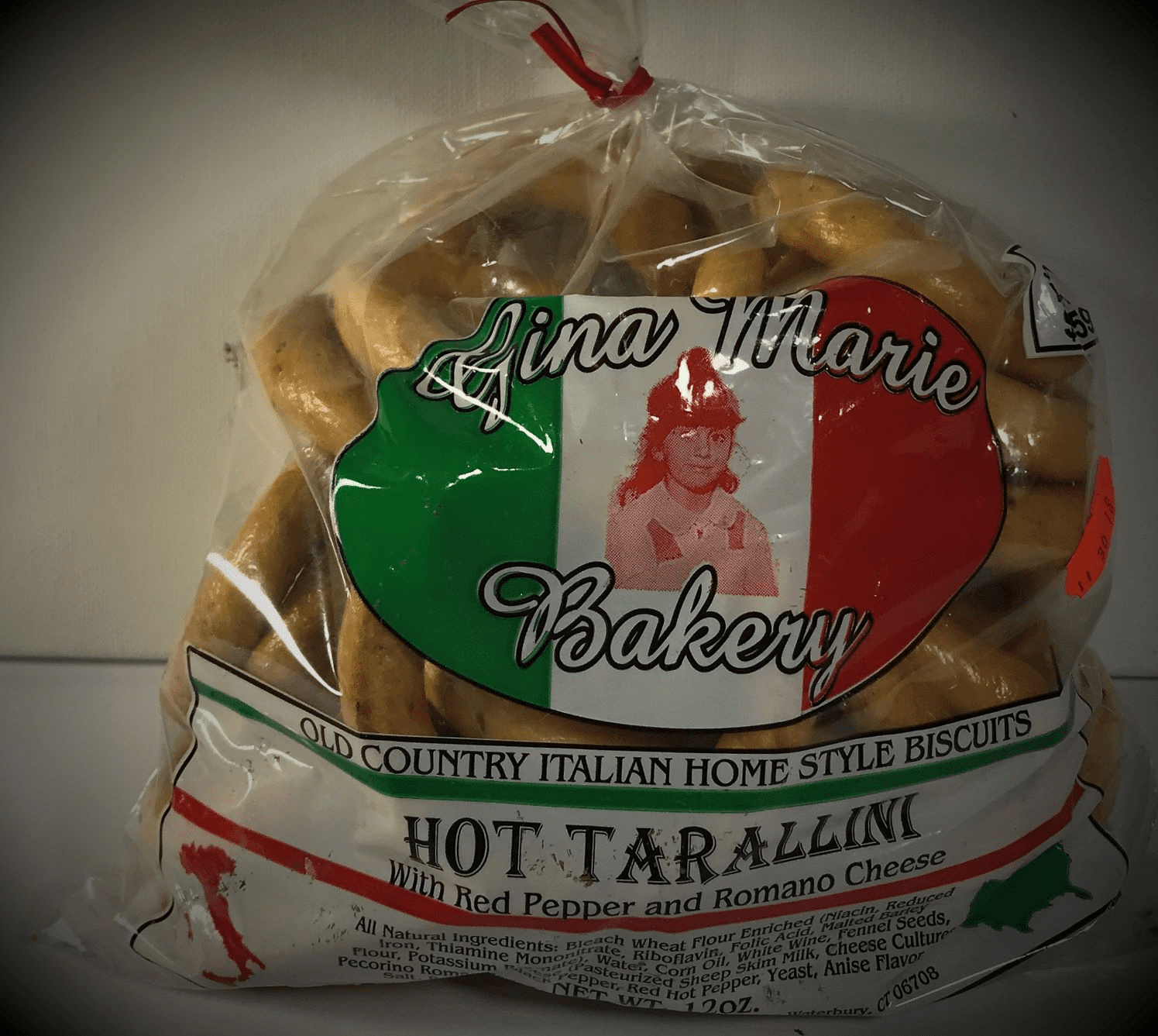 """Gina Marie Bakery """"Hot Tarallini""""  with Red Pepper and Romano Cheese - 12 OZ"""