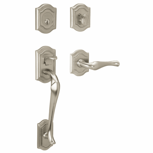 Baldwin 85327.150.RENT/LENT Satin Nickel Single Cylinder Bethpage Handleset with Bethpage Lever