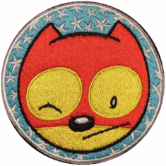 """ACTION CAT PATCH 3.5"""" round iron-on or sew-on"""