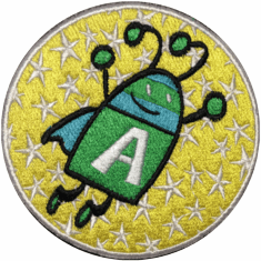 """ADVENTURE BUG PATCH 3.5"""" round iron-on or sew-on"""