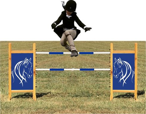 Blue and White Flowing Horse Kid Size Horse Jump
