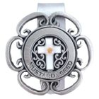 1-3/4  Inch Pewter Cross Mustard Seed Auto Visor Clip