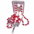 7 mm Red Crystal Glass Beads Rosary with Crucifix and St. Florian on Center