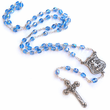 7 mm Round Sapphire Crystal Glass Beads Rosary with Crucifix and St. Michael on Center