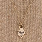 """""""Blessed"""" Engraved Teardrop Charm Pendant Necklace"""