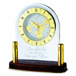 Clear Lucite World Desk Clock with Brass Posts