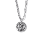 """Sterling Silver Round Engraved St. Christopher Medal on 20"""" Chain"""