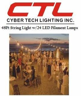 <b>Cyber Tech</b></br>48Ft String Light With 24 LED Filament Lamps</font></u>
