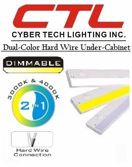 "<b>Cyber Tech</b></br> LED 4"" Wide Dual-Color Hard Wire Under-Cabinet Light (120V)</font></u>"