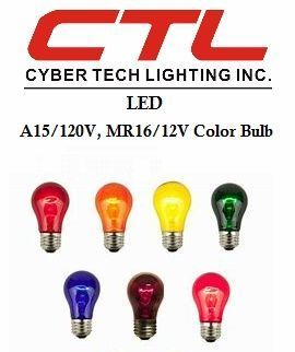 <b>Cyber Tech</b></br> LED A15/120V, MR16/12V Color Light Bulb</font></u>