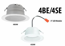 "Lithonia 4SEMW LED 27K 4"" Smooth LED Module,2700K,90CRI,9.8W,650L,Matte White"