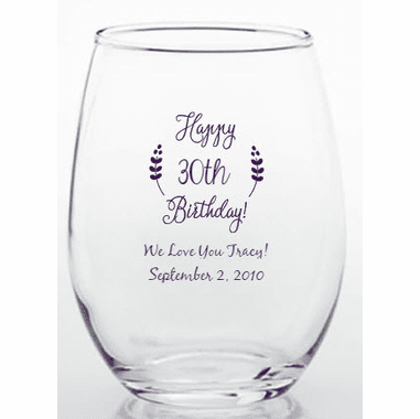 Birthday Wine Glass 30th Present Large Glass - COLOURFUL GLASS Orange Gift