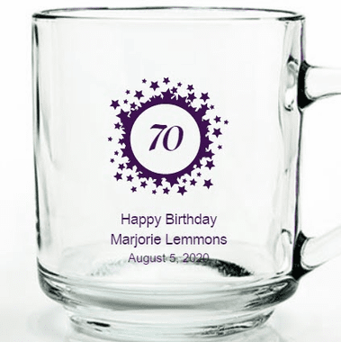 70th Birthday Glass Mugs