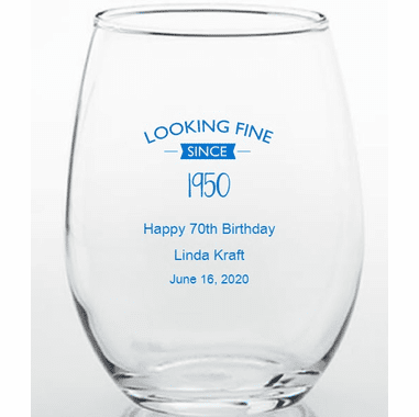 70th Birthday Wine Glasses - 15 oz