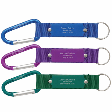 Bar Mitzvah Carabiner with Each Guest's Name - Place Cards