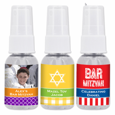 Bar Mitzvah Hand Sanitizer Favors - 1 oz Spray Bottle