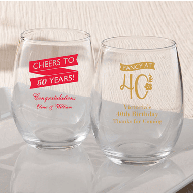 Custom Birthday Glassware - 9 oz.