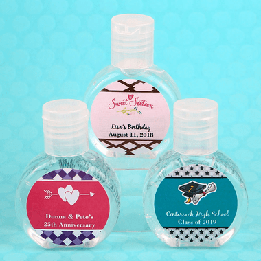 Custom Mini Hand Sanitizers - You place labels on bottles.