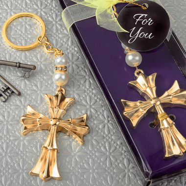 Gold Cross Key Chains
