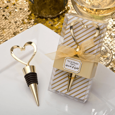 Gold Heart Bottle Stoppers