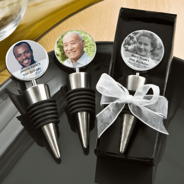 Personalized Wine Stoppers - With Paper Photo Labels That You Affix