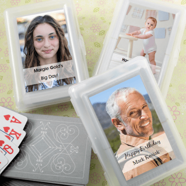 Photo Label Playing Cards - Photo printed on stickers only; not on cards