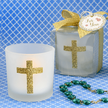 White Candle with Gold Cross