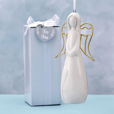 White Ceramic Angel Ornaments