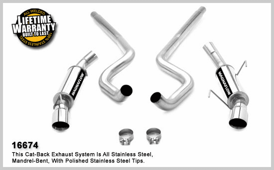 Magnaflow Magnapack 3 Inch Dual Exhaust System Part # 16674 for the 2005-2007 Mustang GT and 2007 Shelby GT500