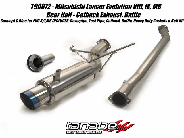 Tanabe Concept G Blue 80mm Turbo Back Exhaust System Part # T90072 for the 2003 - 2007 Lancer Evolution