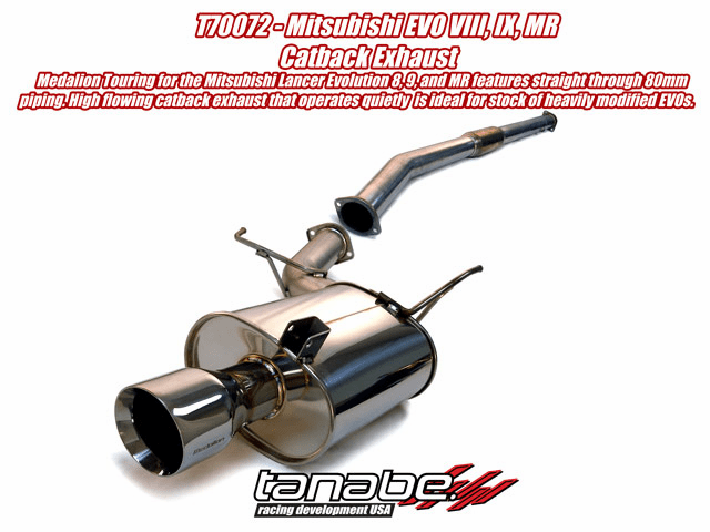 Tanabe Medalion Touring 80mm Catback Exhaust System Part # T70072 for the 2003 - 2007 Lancer Evolution