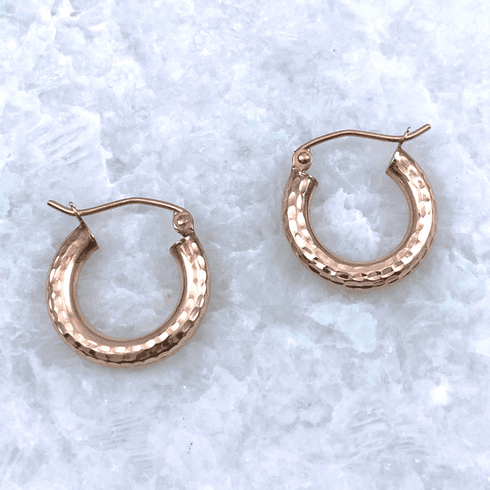 14K Rose Gold Diamond Cut Hoops