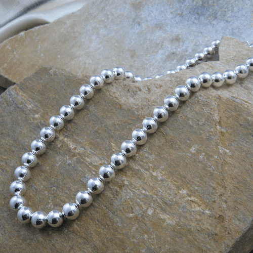 16 Inch Sterling Silver Bead Necklace