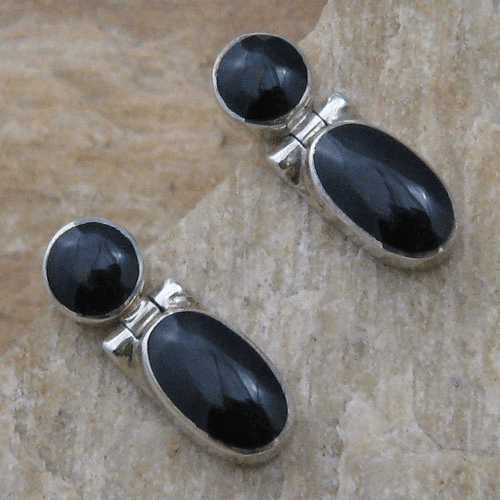 ACleoni Black Shell Post Dangle Earrings