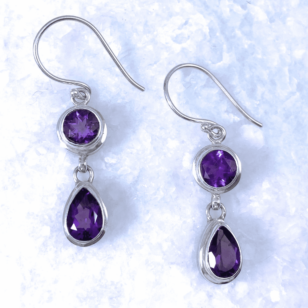 Amethyst Round and Teardrop Earrings