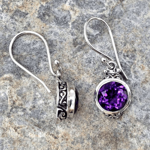 Amethyst Round Filigree Set Dangles