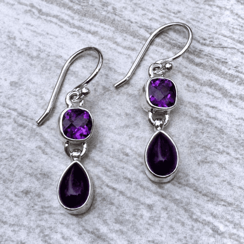 Amethyst Square and Teardrop Earrings