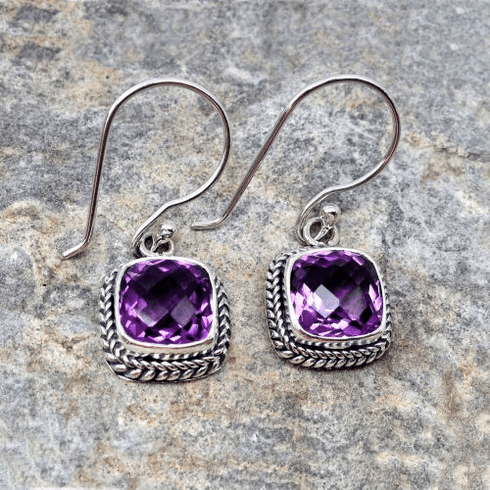 Amethyst Square Rope Set Dangles