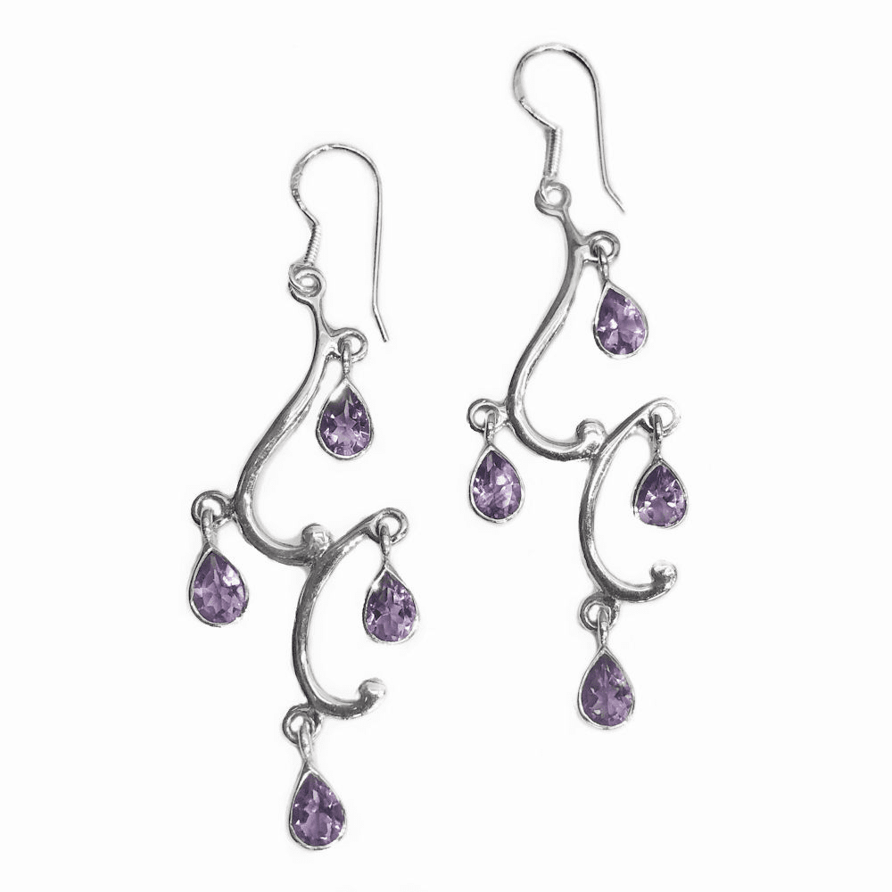 Amethyst Teardrops Curly Earrings