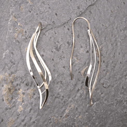 Ann Lewis Silver/Gold Filled Tapered Curves Dangle Earrings