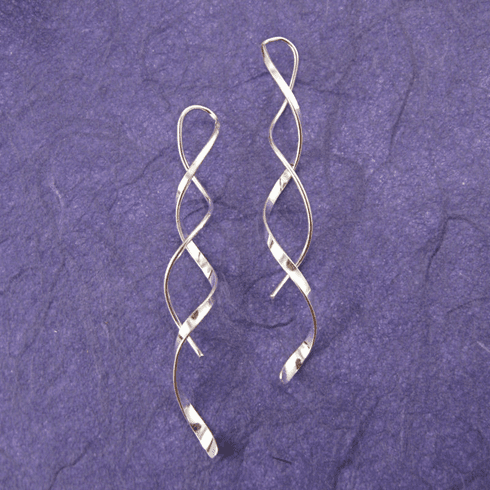 Ann Lewis Silver Single Spiral Threaded Dangle Earrings