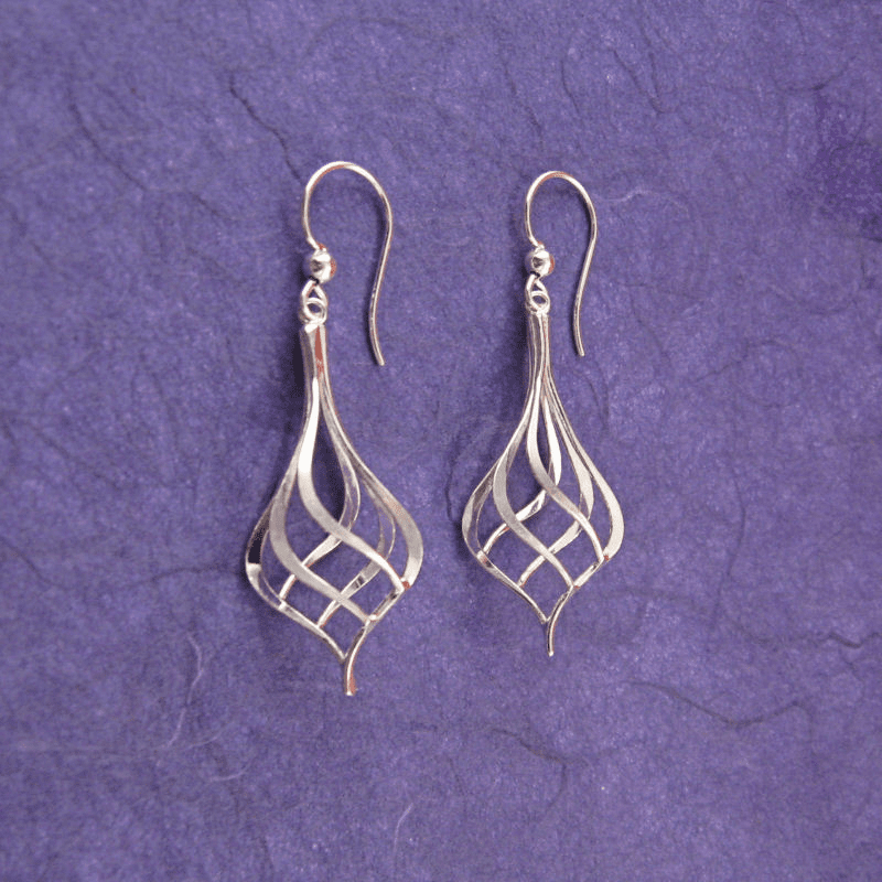 Ann Lewis Silver Twisted Teardrop Dangle Earrings