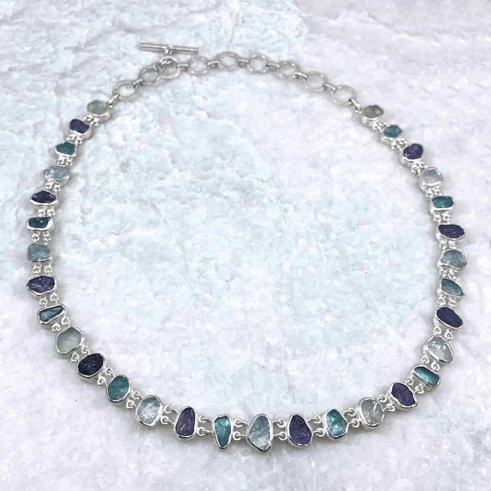 Aquamarine, Apatite & Tanzanite Natural Cut Necklace