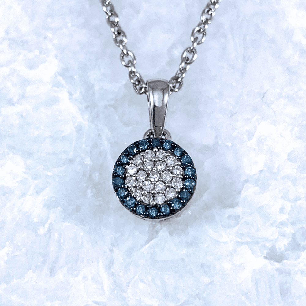 Blue and White Diamond Pendant
