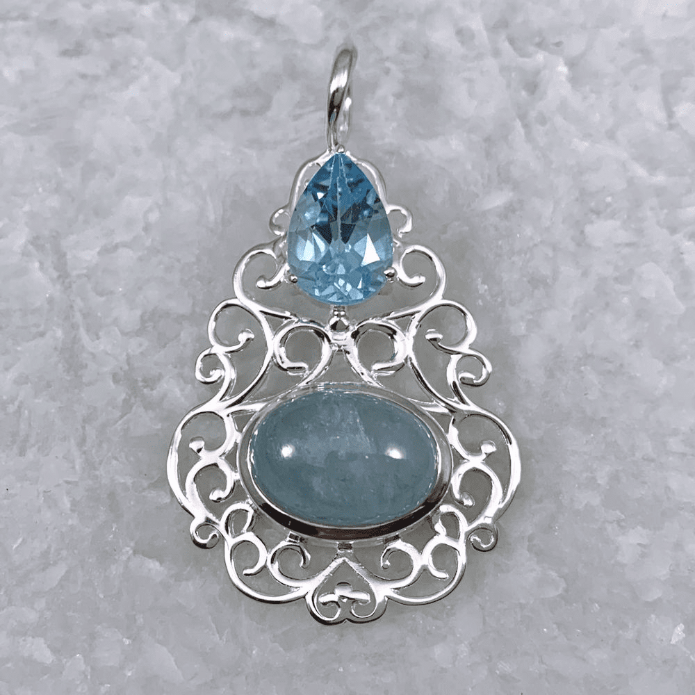 Blue Topaz and Aquamarine Pendant