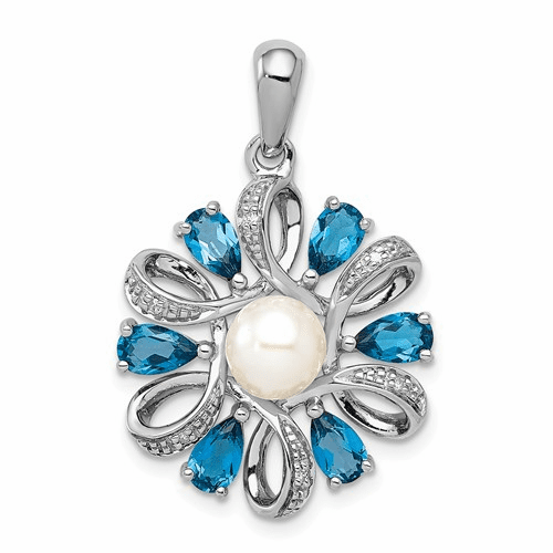 Blue Topaz and Pearl Pendant