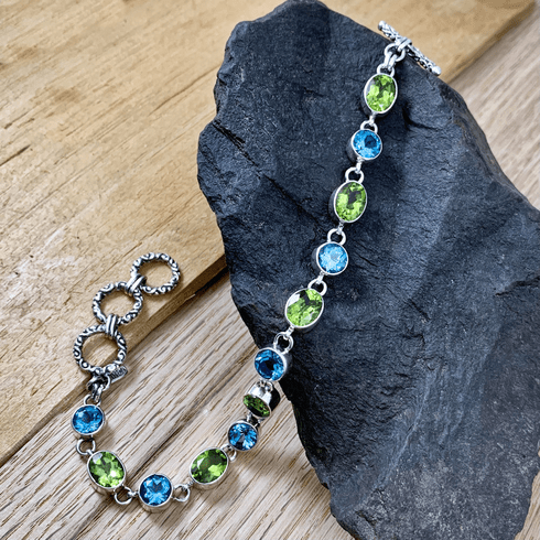 Blue Topaz and Peridot Bracelet