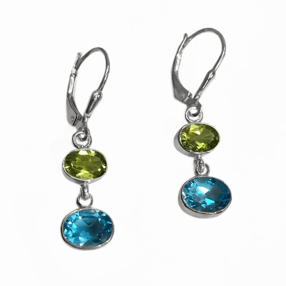 Blue Topaz and Peridot Oval Earrings