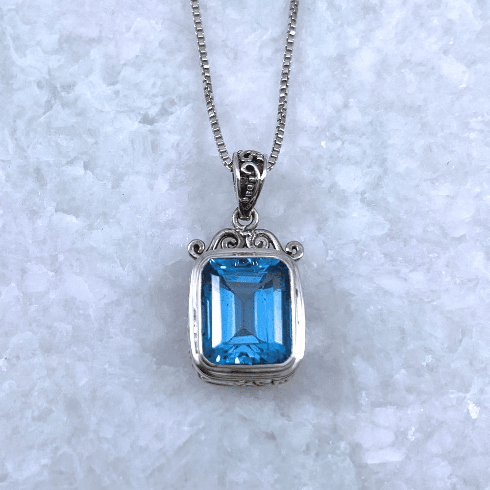 Blue Topaz Rectangle Pendant
