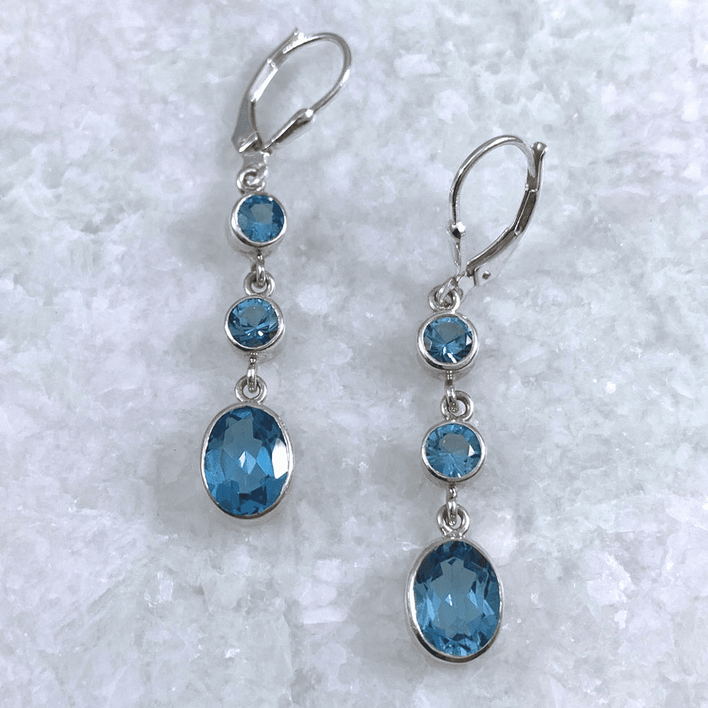 Blue Topaz Round and Oval Earrings